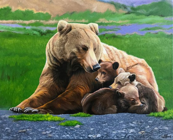 She-bear with cubs