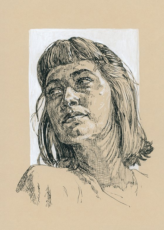 Girl with bangs. Cross hatch drawing