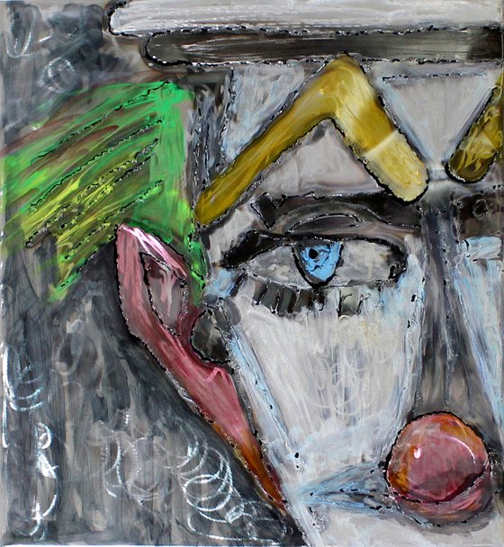 Tribute painting Bernard Buffet zoom clown Wall Sculpture steel painting and inks