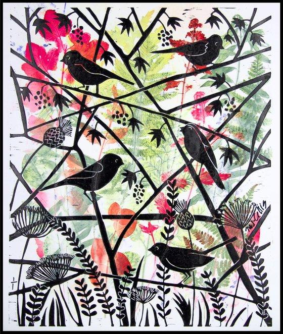 Hedgerows, monoprint linocut
