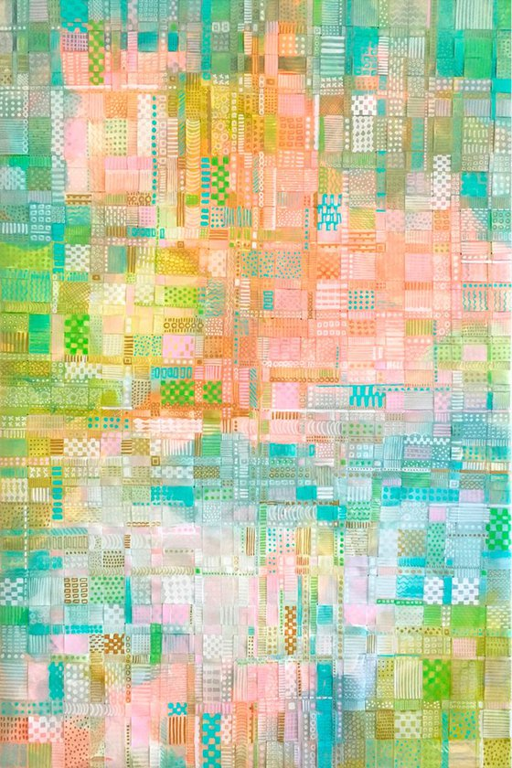 Summer Fields - woven recycled paper abstract painting
