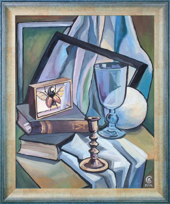 Still life with beetle and candlestick