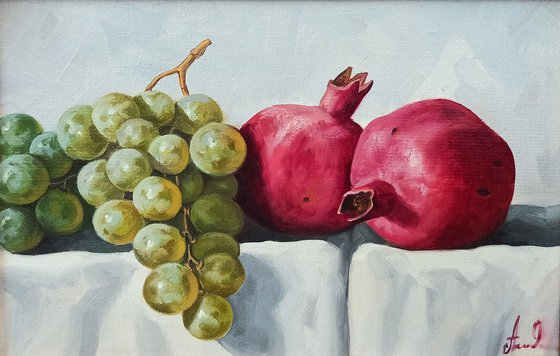 Still life with pomegranates and grapes-2 (20x30cm, oil painting, ready to hang)