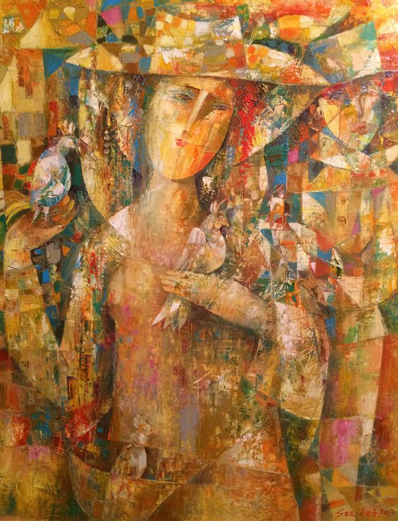 Girl portrait with birds (60x80cm oil/paper)