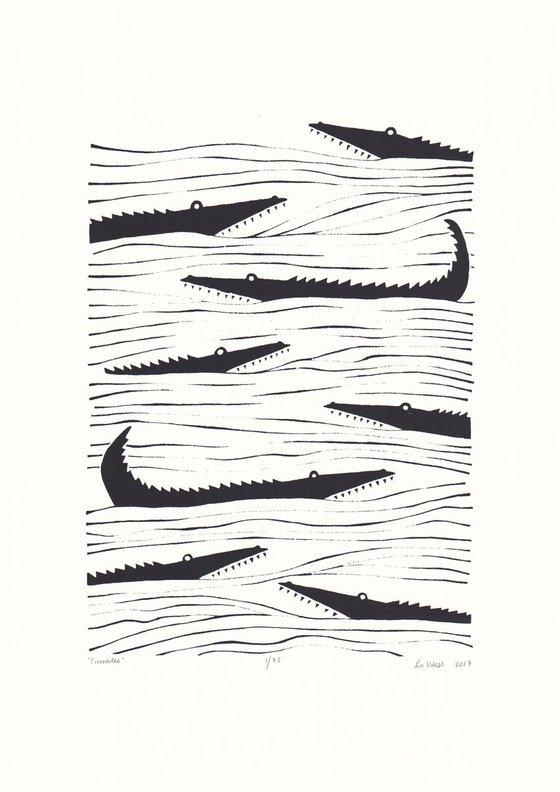 Crocodiles in Black - Unframed - FREE Worldwide Delivery
