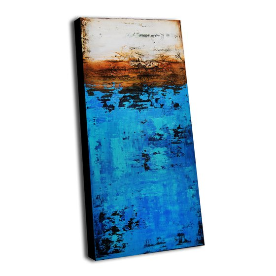 """DOWN BY THE SEA * 47.2"""" x 19.7"""" * ABSTRACT ART ON CANVAS * ACRYLIC PAINTING * TEXTURED"""
