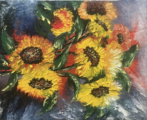 Sunflowers (40x50cm, oil painting, ready to hang)
