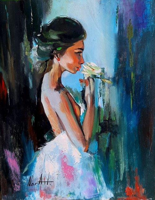 Lady with a flower 40x50cm ,oil/canvas, ready to hang