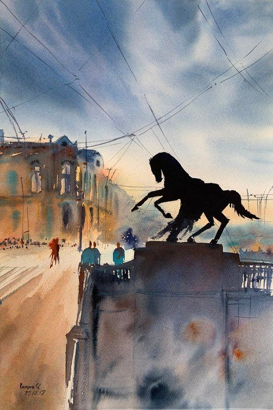 Horse on the Anichkov bridge. St. Petersburg.