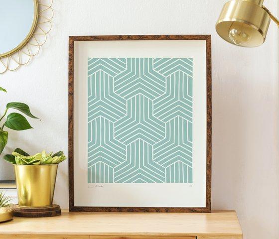 Link (Sage Geometric Linocut Print)