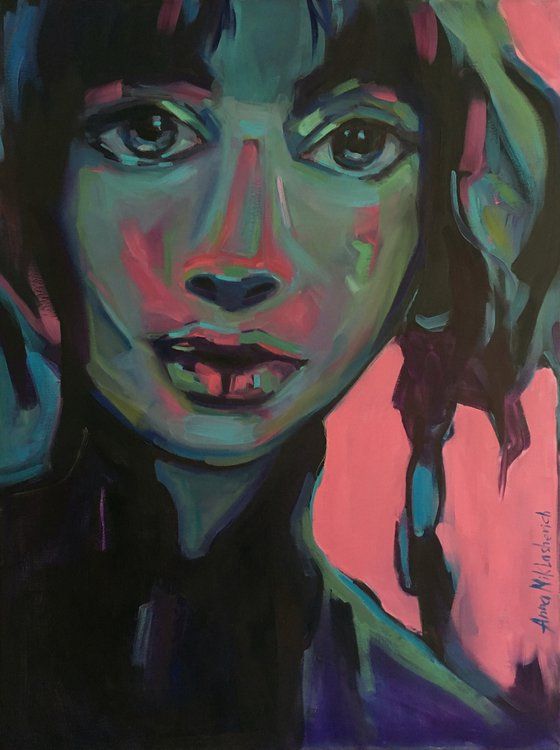 COSMOPOLITE - Modern colorful woman portrait art Contemporary expressionist female face painting on canvas