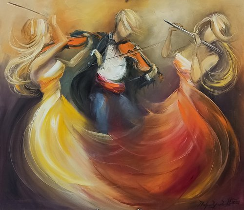 Trio storm-3 (70x80cm, oil painting, ready to hang)