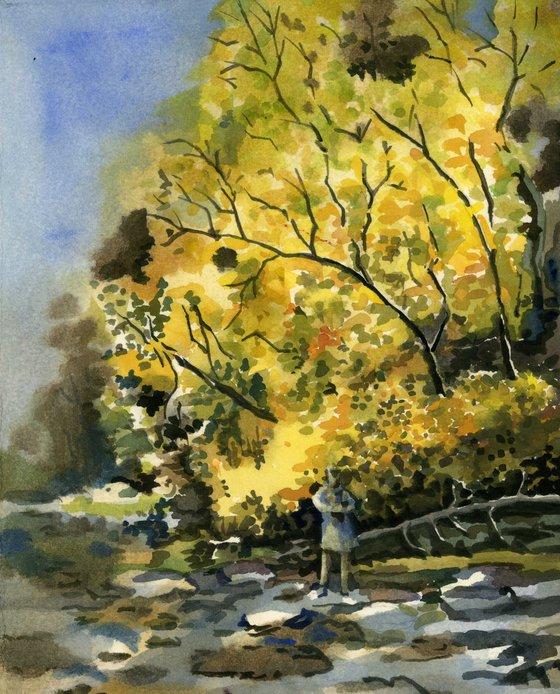Autumn outing watercolor landscape