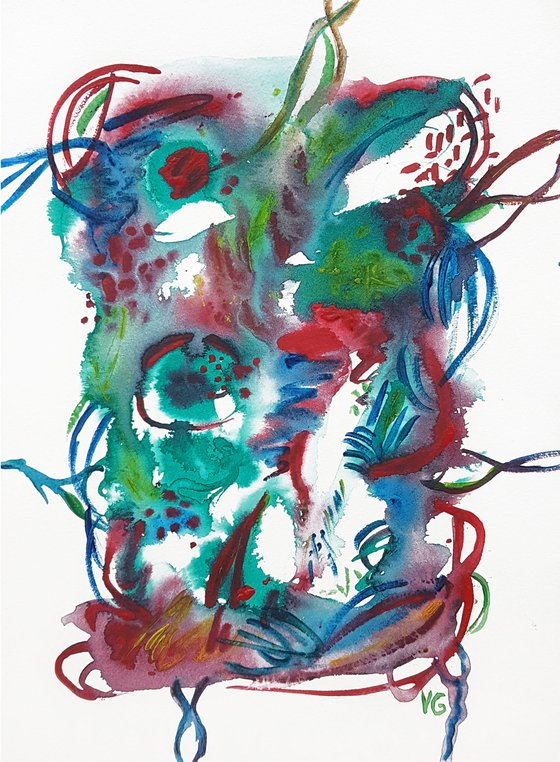 """""""Synapses"""" Abstract Acrylic Painting on Paper. Abstract Artwork"""