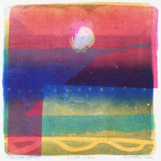 Cliff View - Unmounted Signed Monotype