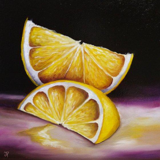 Big lemon slices still life