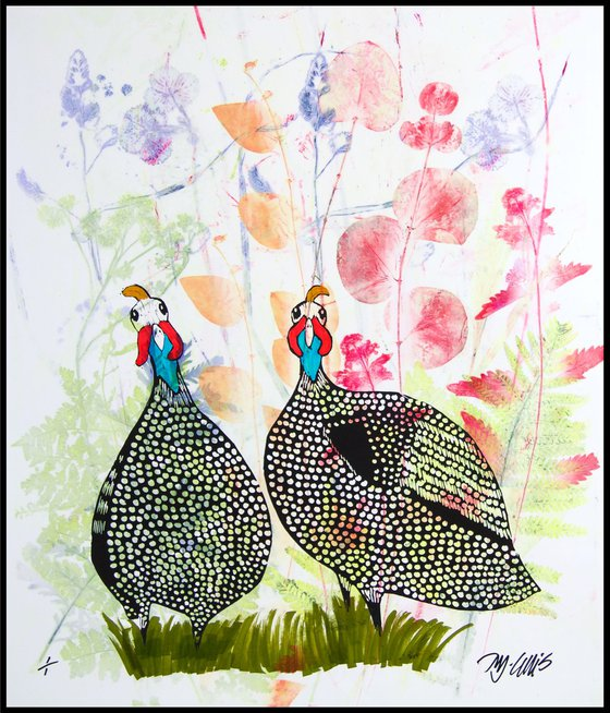 Guineas in the meadow, linocut w mixed media