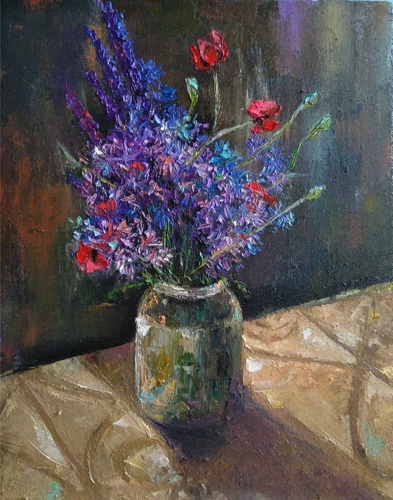 Purple flowers (40x50cm, oil canvas, ready to hang)