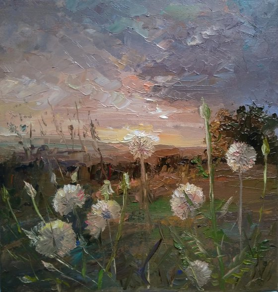 Dandelion (24x26cm, oil canvas, ready to hang)