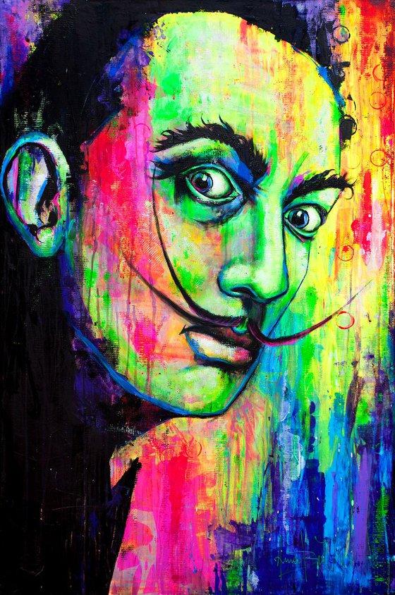 Salvador Dali -Portrait Painting UV Fluorescent Art