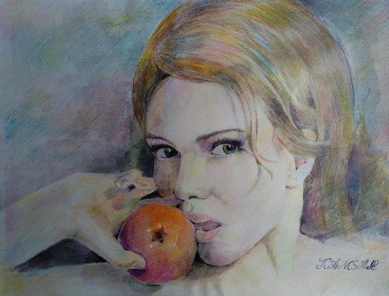 Watercolor portrait - sweet apple(30x40cm, watercolor, paper)