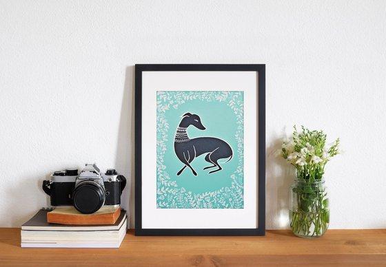 Black Whippet Greyhound Dog Illustration A5 Art Print