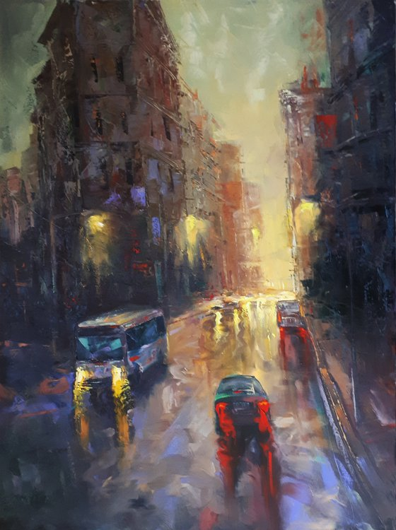 Lights of city -  2 (60x80cm, oil painting, ready to hang)