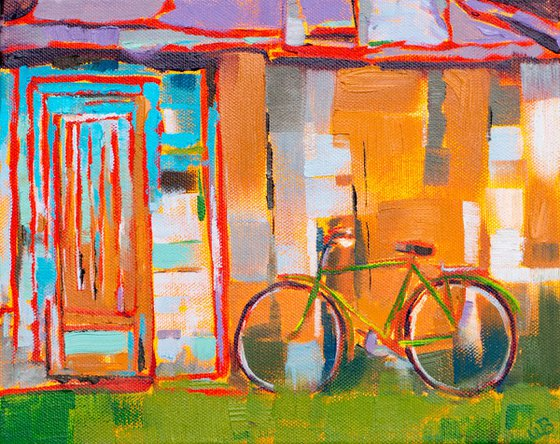 Bike by a Rustic Shed