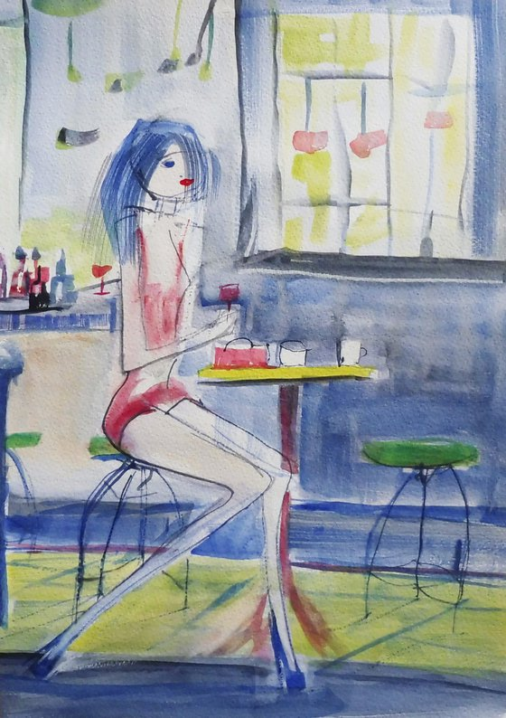 GIRL CAFE. Sketch Study.