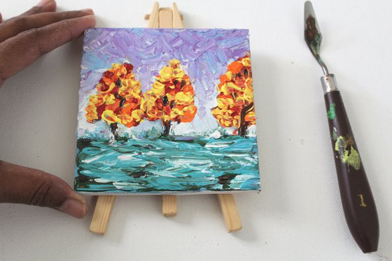 Miracle - Acrylic painting on a mini canvas permanently attached to the mini easel - Table decor - textured art