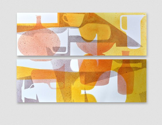 DIPTYCH Abstract stillife Yellow to Red, 1 and 2