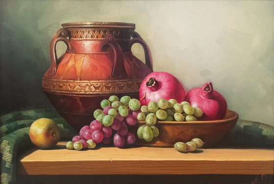 Still life with autumn fruits (40x60cm, oil painting, ready to hang)