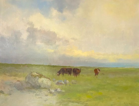 Cows in Meadow, Landscape,  Original oil Painting, Handmade artwork, Signed, One of a Kind