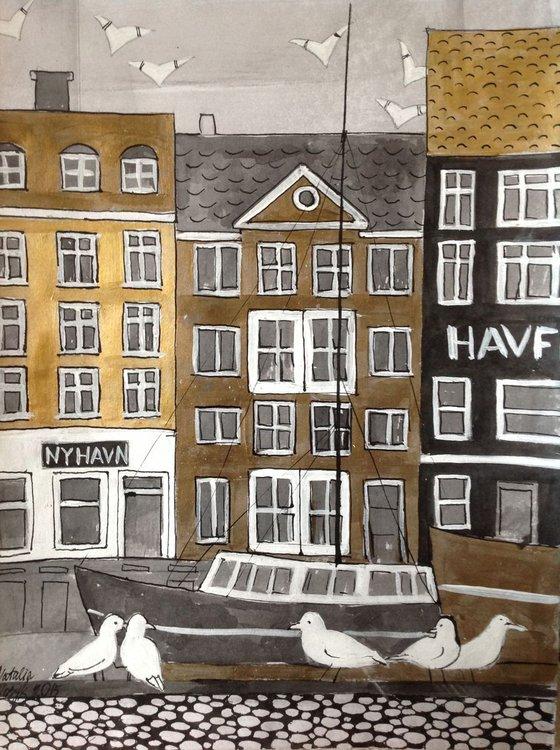 Copenhagen cityscape buildings boat Denmmart original drawing
