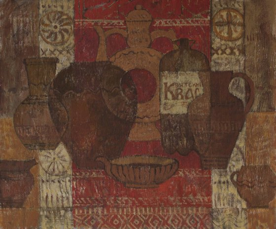 Russian kvass from the series vessels of our civilization - old art, acrylic on canvas, home interior