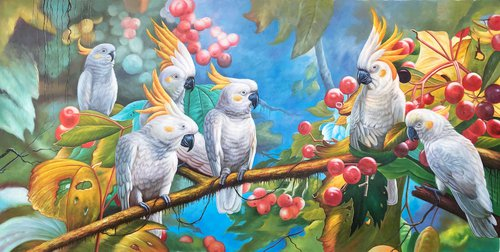 Parrots on the branches