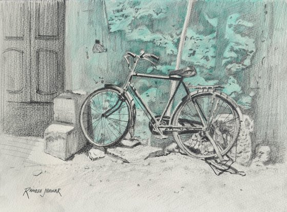 Bike against the turquoise wall