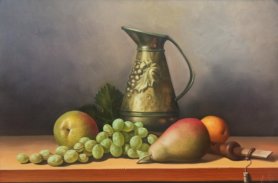 Still life with fruits and duduk (40x60cm, oil painting, ready to hang)