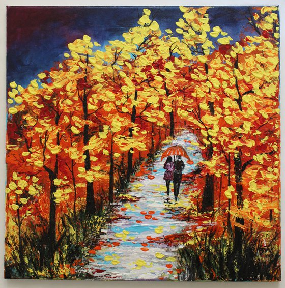 Walk in the Rain -Autumn trees -Acrylic painting on stretched canvas -Impressionistic Landscape painting
