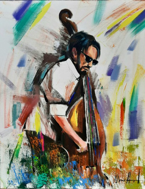 Jazz-2 (40x50cm, oil/canvas, ready to hang, Modern portraits)