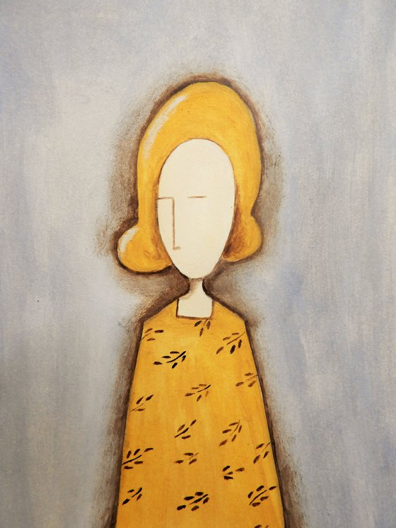 The Lady in yellow - oil on paper