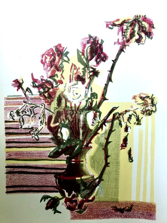 WINTER FLOWERS. Lithography.