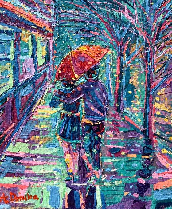 In the Rain - original palette knife figurative cityscape