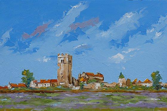 Old village St. Lovrec in Croatia. Croatian landscape