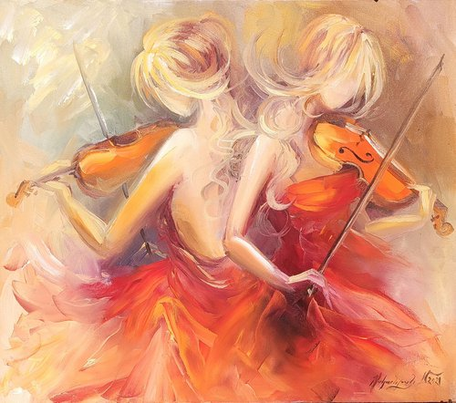 Violin Duet  (70x80cm,   oil painting, ready to hang)