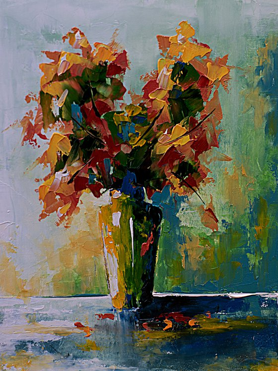 Small still life painting. Flowers in vase oil painting