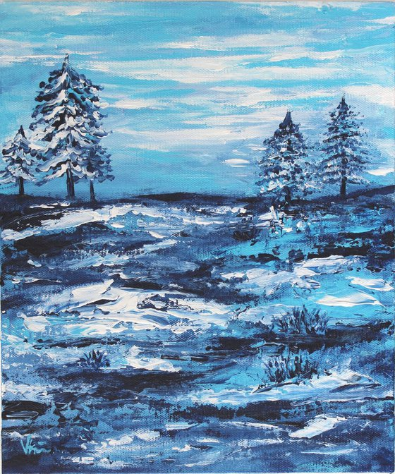 """""""Winter Wonderland-1, 2018"""" - Snowy Blue Landscape & Trees - Acrylic Painting on a Canvas Board"""