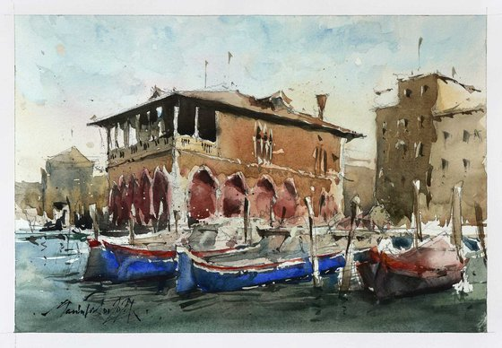 Venice scene, watercolor painting on paper, 2021.