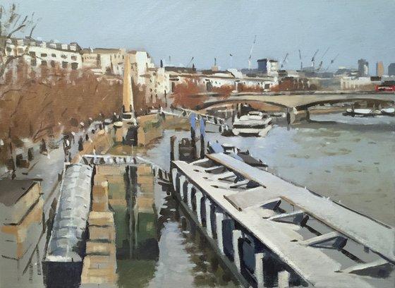 Embankment Pier and Waterloo Bridge, December