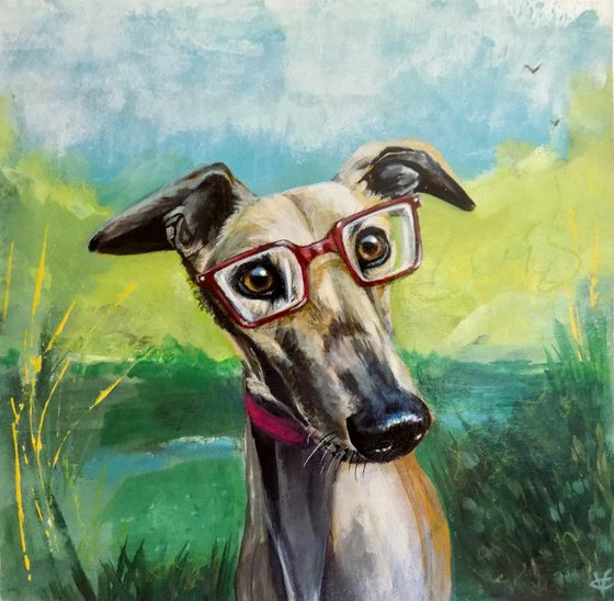 Greyhound painting called 'Storm loved going to the nature reserve he particularly liked watching the birds'